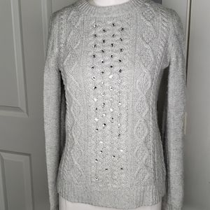 J.Crew Rhinestone Cable Sweater